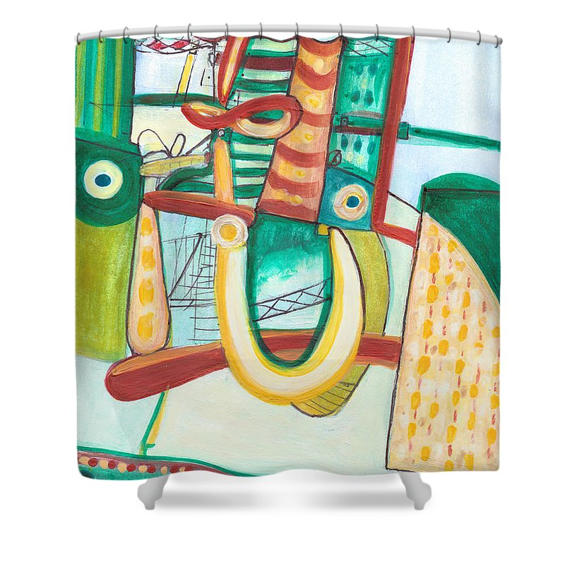 Abstract Art Shower Curtain featuring the painting From Within #19 by Stephen Lucas