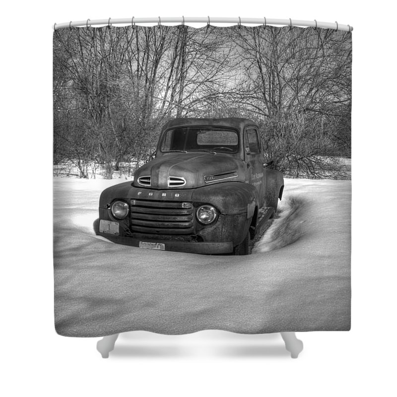 Ford Truck Shower Curtain featuring the photograph Front Of Old Timer by Thomas Young