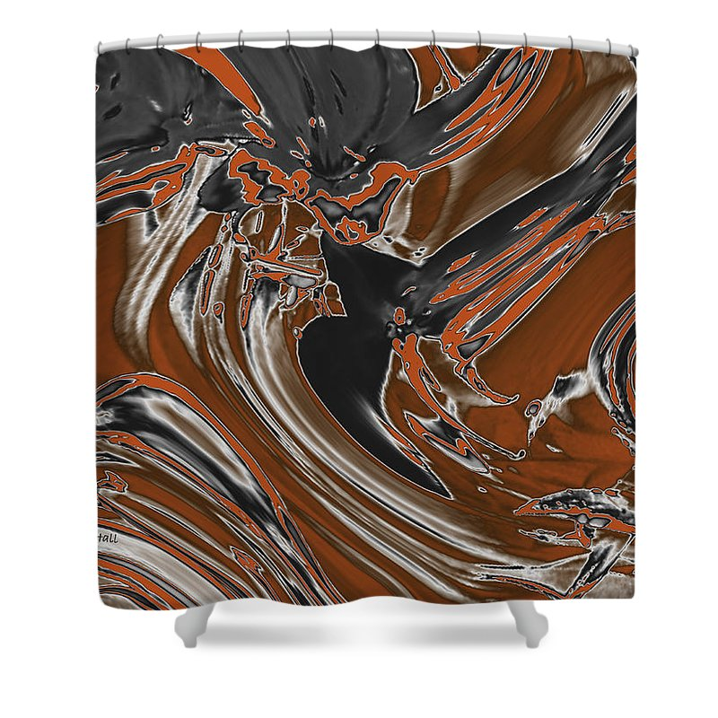 Abstract Shower Curtain featuring the digital art Frost And Woodsmoke by Judi Suni Hall