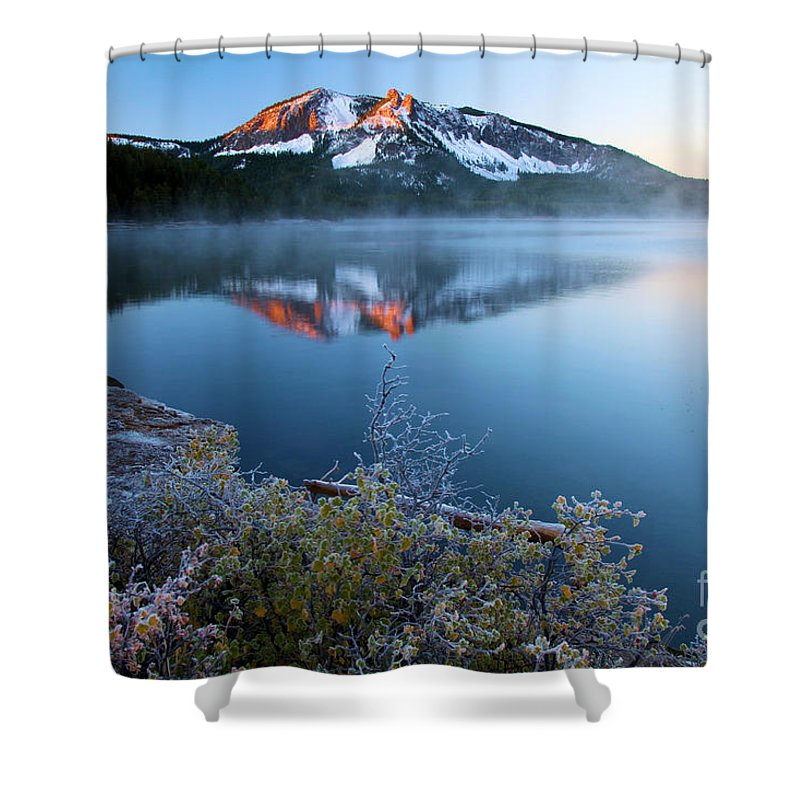 Paulina Peak Shower Curtain featuring the photograph Frost At Paulina Lake by Adam Jewell