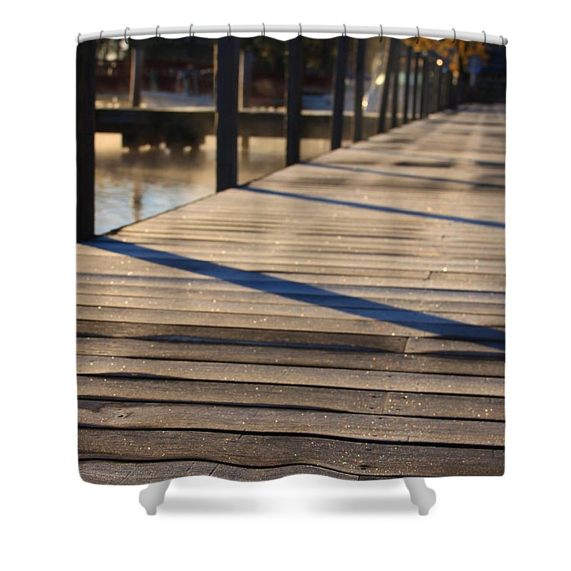 Fall Shower Curtain featuring the photograph Frost On The Docks by Michael Mooney