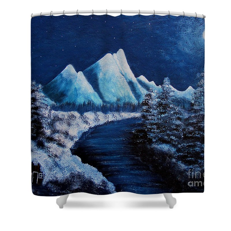 Barbara Griffin Shower Curtain featuring the painting Frosty Night In The Mountains by Barbara Griffin