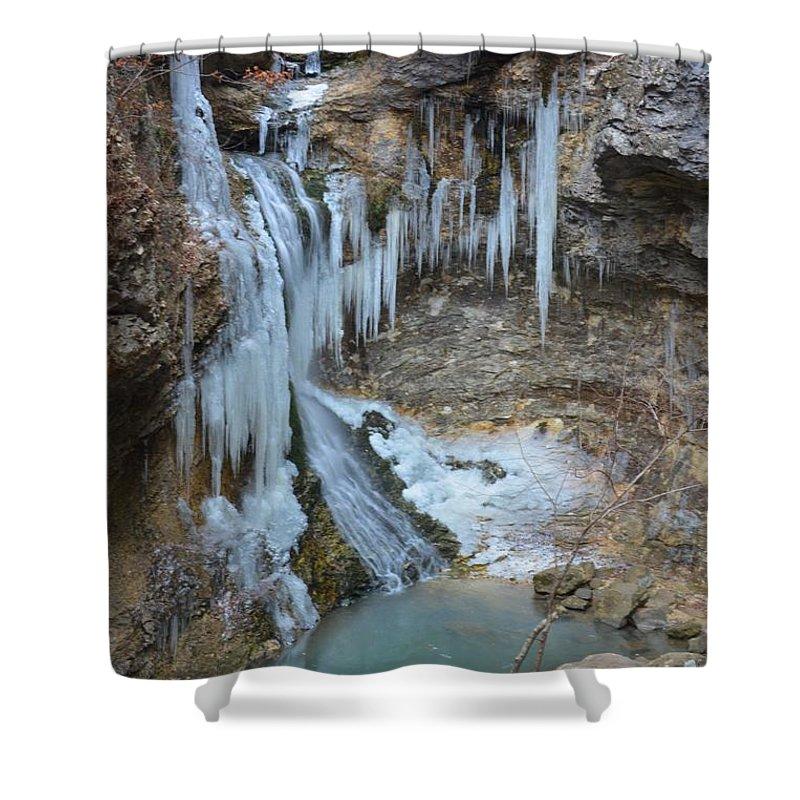 Eden Falls Shower Curtain featuring the photograph Frozen Eden by Deanna Cagle