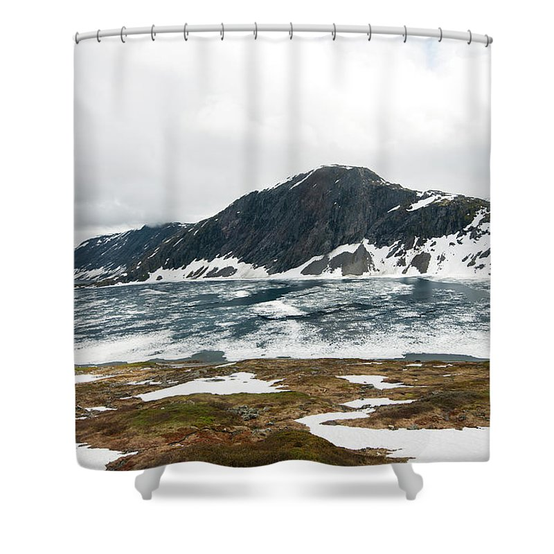 Tranquility Shower Curtain featuring the photograph Frozen Lake - Dalsnibba Mountains by Thierry Dosogne