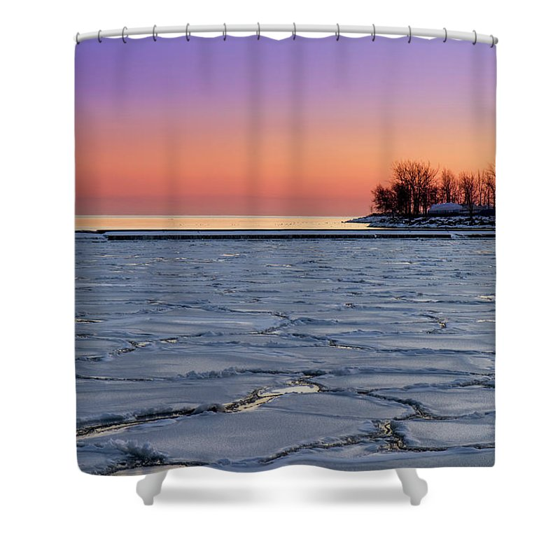 Scenics Shower Curtain featuring the photograph Frozen Lake Ontario Sunset by Frank Lee