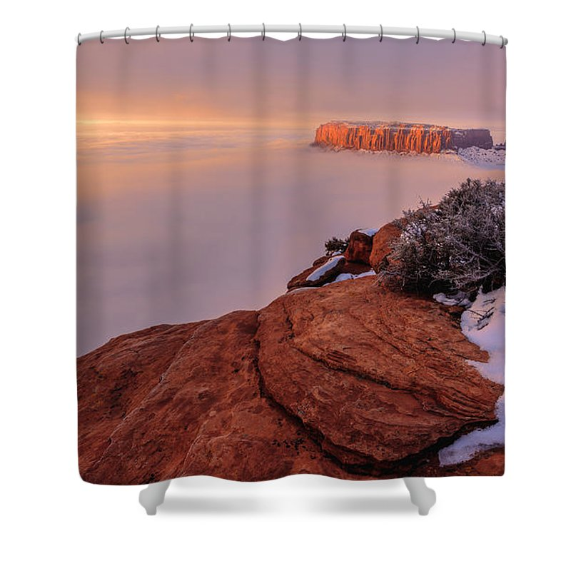 Canyonlands Shower Curtain featuring the photograph Frozen Mesa by Chad Dutson