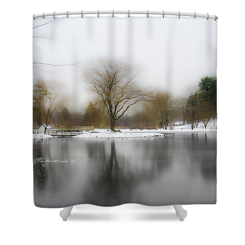 Frozen Shower Curtain Featuring The Photograph Pond At Willows Park