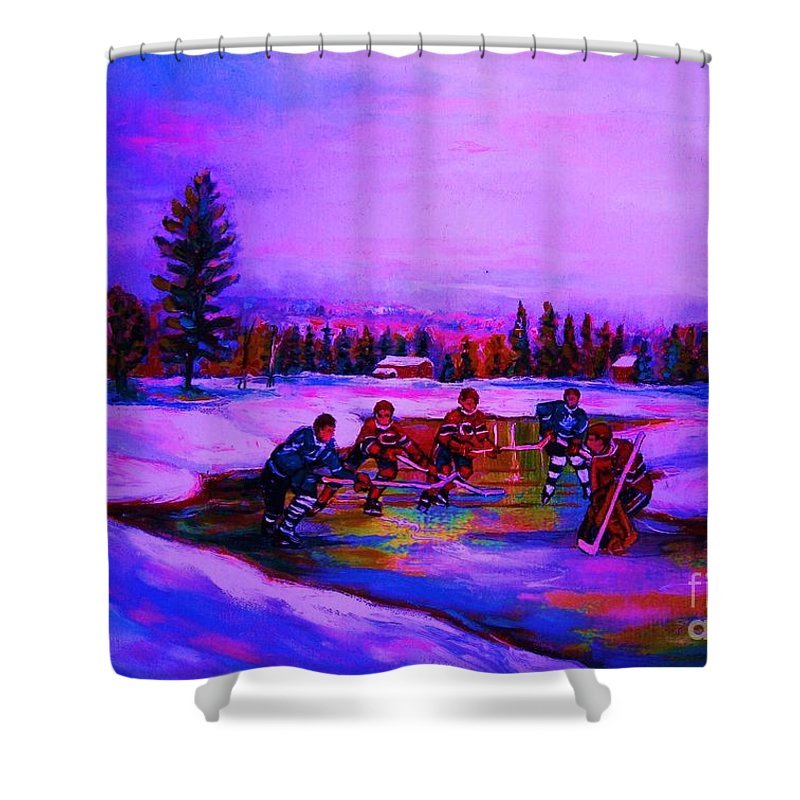 Hockey Shower Curtain featuring the painting Frozen Pond by Carole Spandau