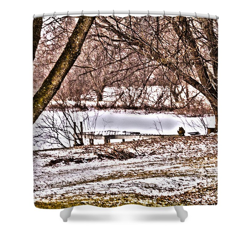 Winter Shower Curtain featuring the photograph Frozen Pond by William Norton