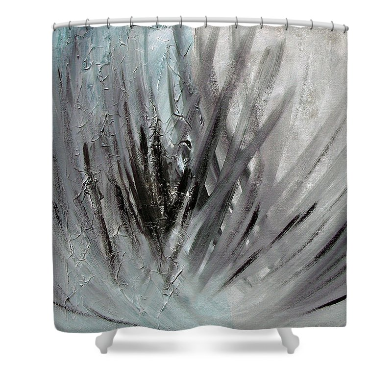 Abstract Shower Curtain featuring the painting Frozen by Sergey Bezhinets