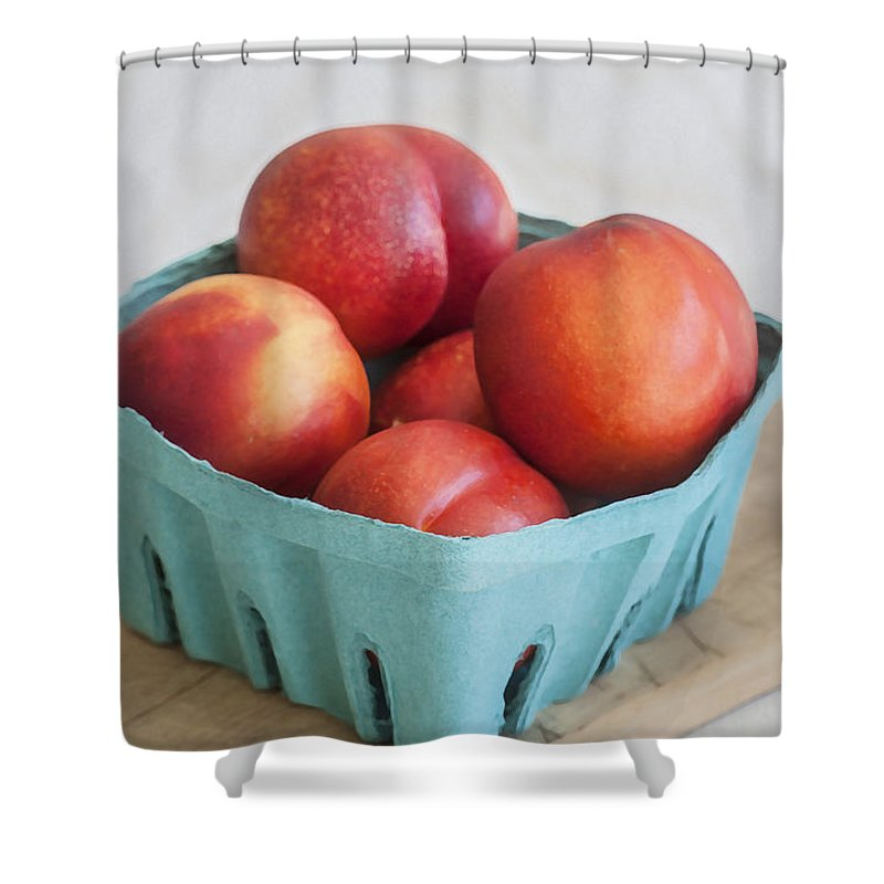 Nectarines Shower Curtain featuring the photograph Fruit Stand Nectarines by Rich Franco