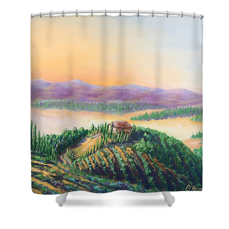 Vineyards Shower Curtain featuring the painting Fruitful And Prosperous by Gary Rowell
