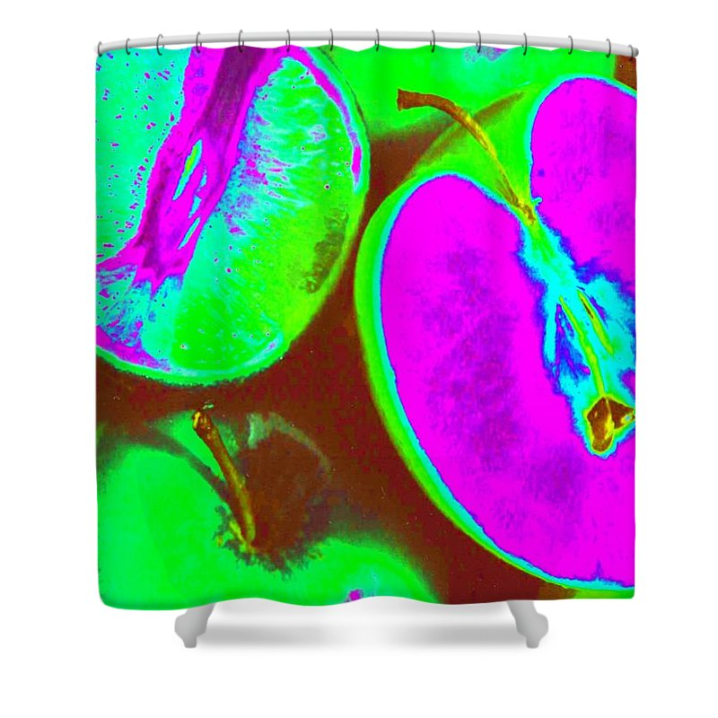 Lime Shower Curtain featuring the photograph Fruitilicious - Lime And Green Apples - Photopower 1817 by Pamela Critchlow
