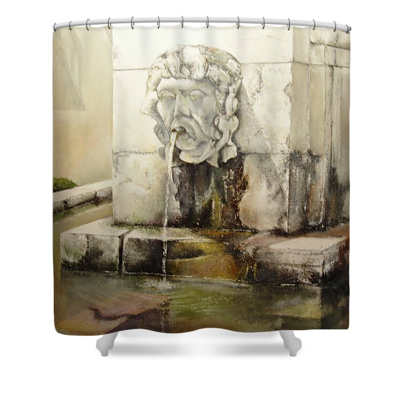 Fuente De San Isidoro- Leon Shower Curtain featuring the painting Fuente de San Isidoro by Tomas Castano