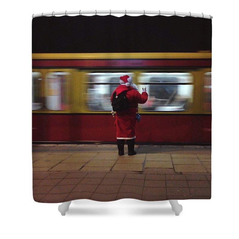 Passenger Train Shower Curtain featuring the photograph Full Length Rear View Of Man In Santa by Monika Kanokova / Eyeem