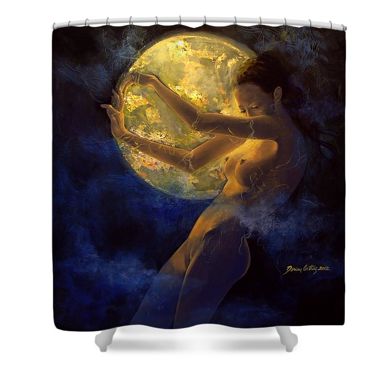 Woman Shower Curtain featuring the painting Full Moon by Dorina Costras