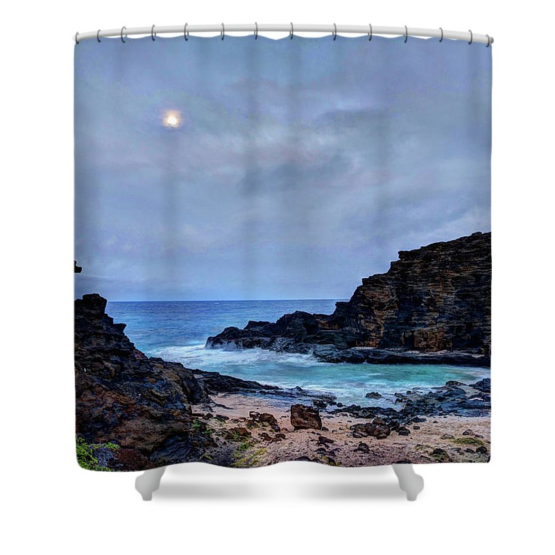 Tranquility Shower Curtain featuring the photograph Full Moon In The Clouds by Julie Thurston