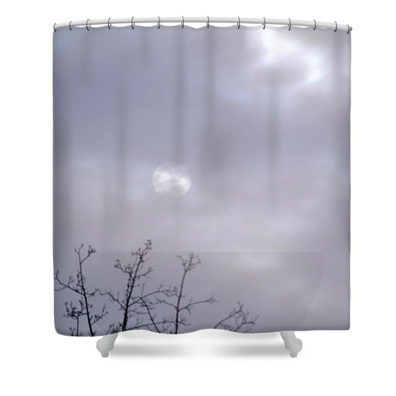 Sweetwater Creek State Park Shower Curtain featuring the photograph Full Moon Through The Clouds by Tara Potts