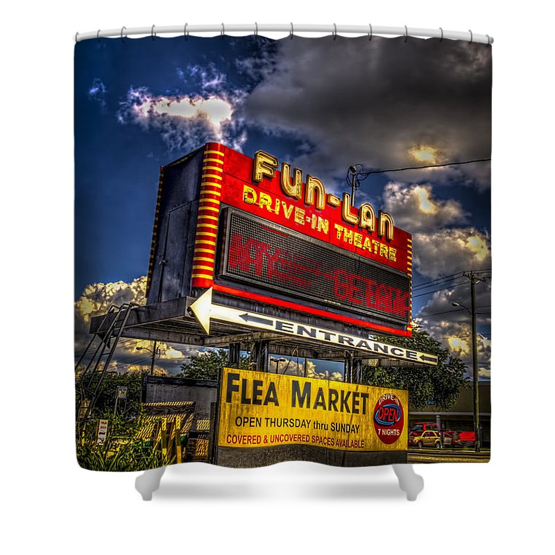 Theaters Shower Curtain featuring the photograph Fun-lan by Marvin Spates