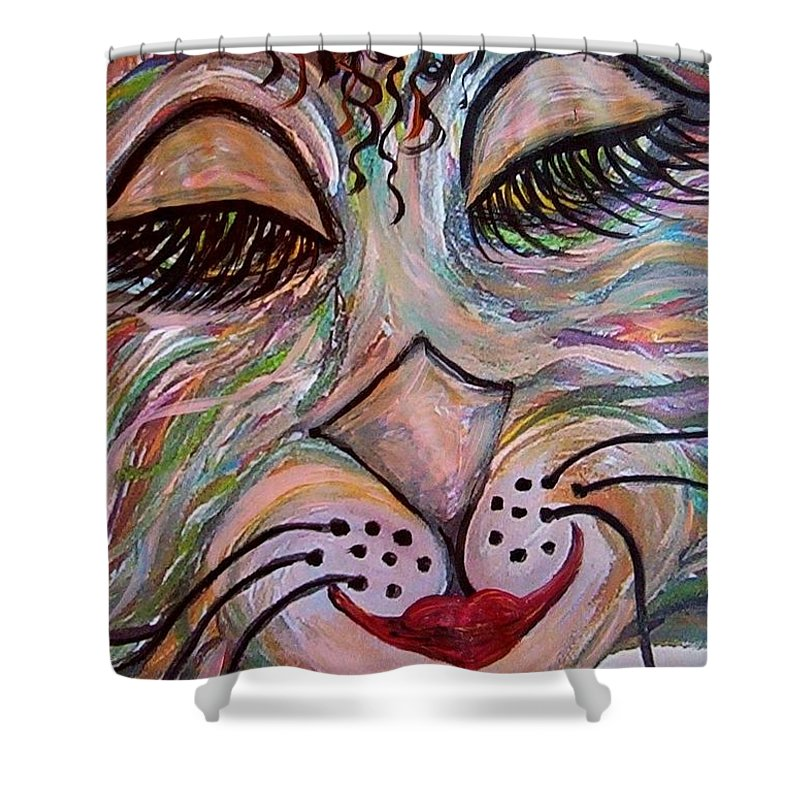 Cat Shower Curtain featuring the painting Funky Feline by Eloise Schneider Mote
