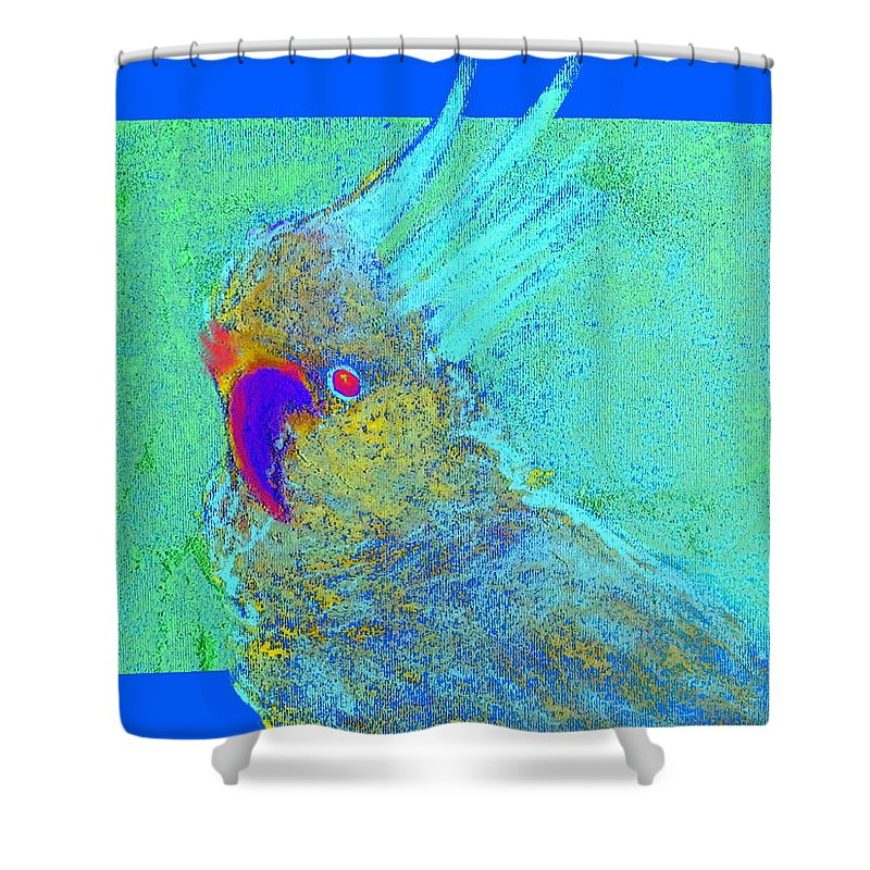 Art Shower Curtain featuring the painting Funky Sulphur Crested Cockatoo Bird Art Prints by Sue Jacobi