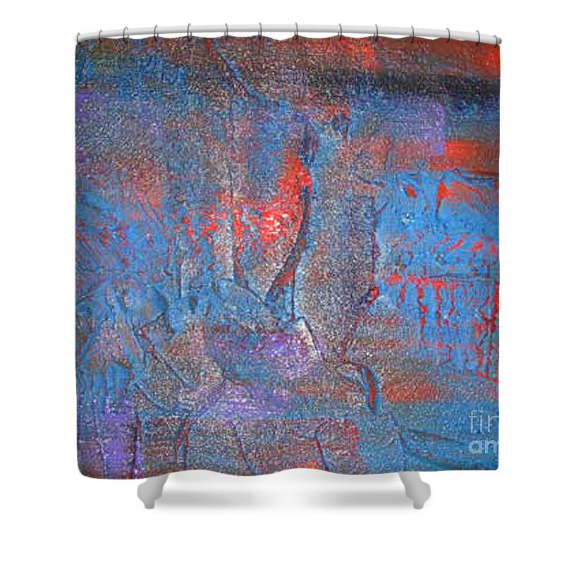 Abstract Shower Curtain featuring the painting Funny Rain by Silvana Abel