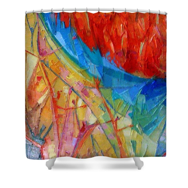 Conceptual Shower Curtain featuring the painting Furnace Of Love by Kayode Karunwi