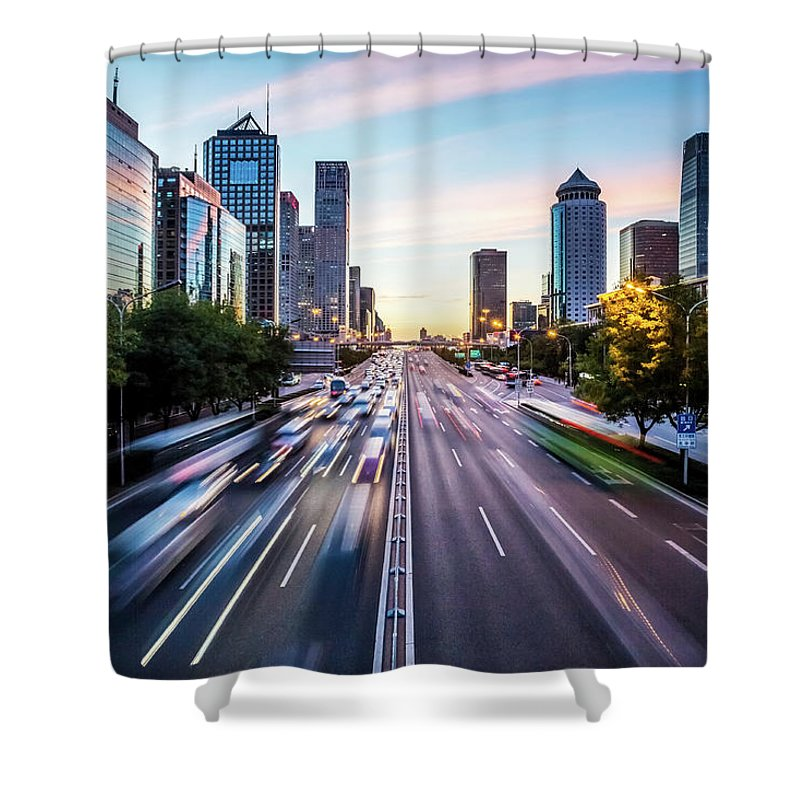 Scenics Shower Curtain featuring the photograph Futuristic City At Dusk by Itsskin