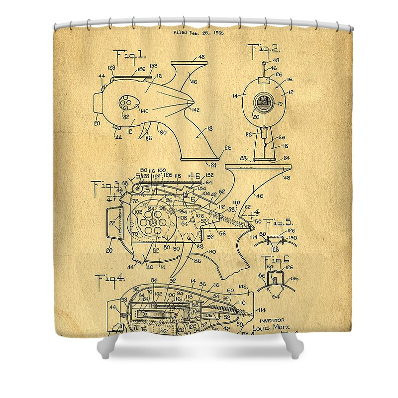 Toy Shower Curtain featuring the photograph Futuristic Toy Gun Weapon Patent by Edward Fielding