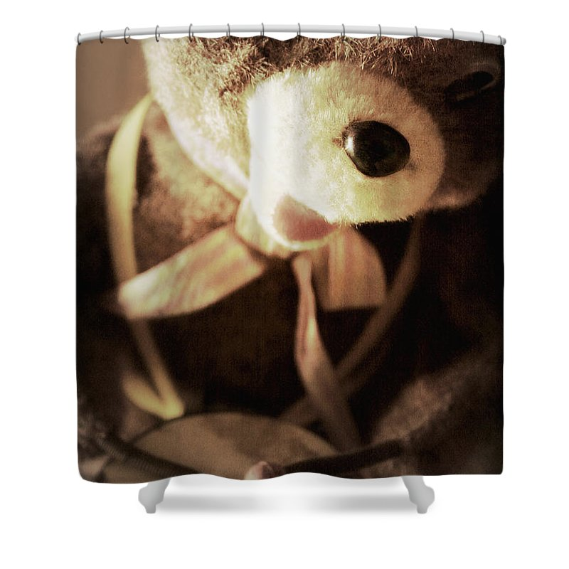 Bear Shower Curtain featuring the photograph Fuzzy Drummer by Trish Mistric