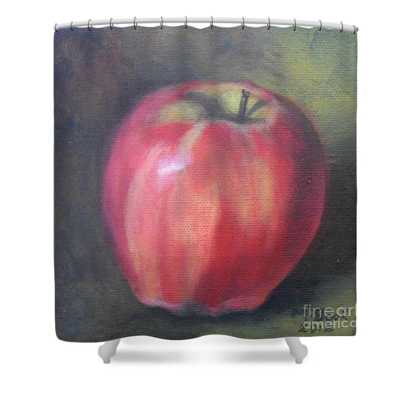 Still Life Shower Curtain featuring the painting Gala Apple by Marlene Book