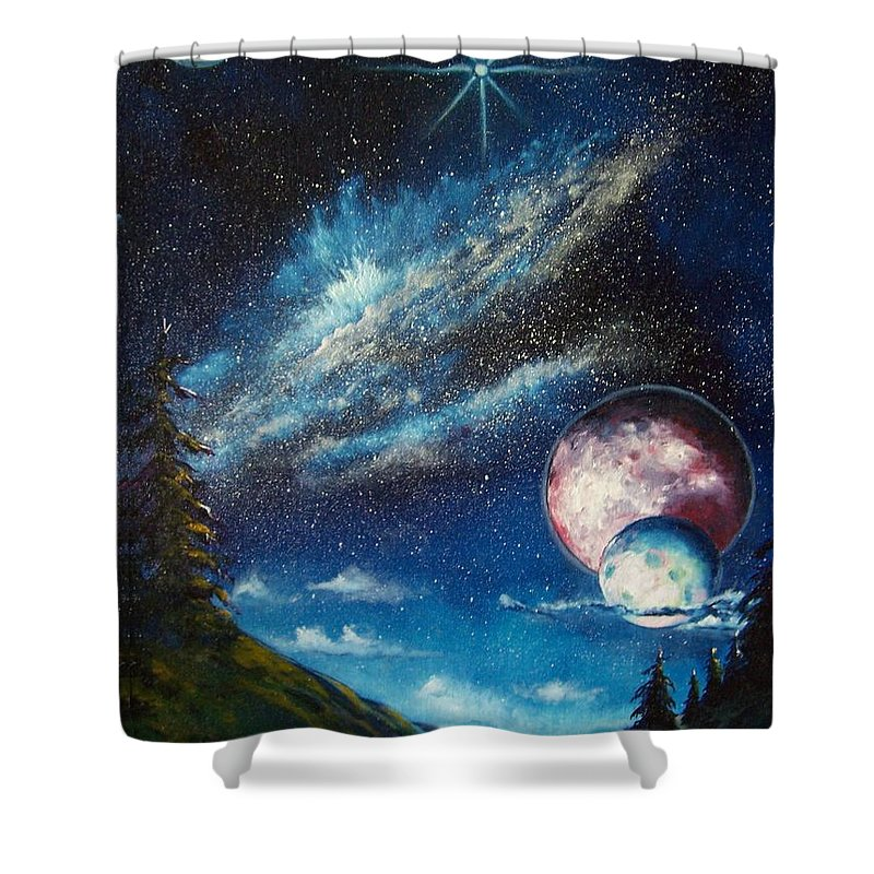Space Horizon Shower Curtain featuring the painting Galatic Horizon by Murphy Elliott