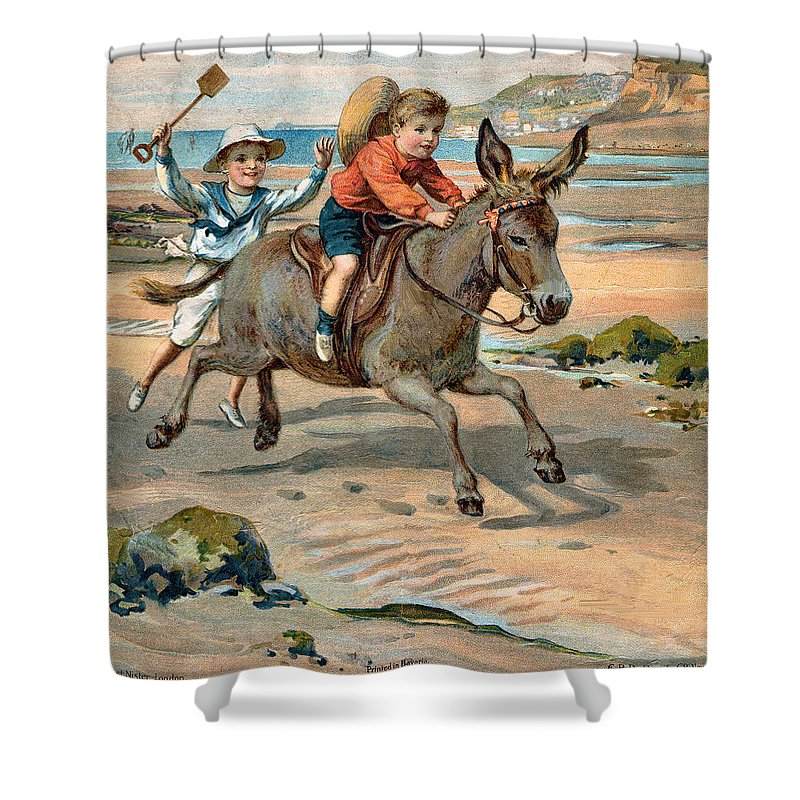 Little Girl At The Beach Shower Curtain featuring the digital art Galloping Donkey At The Beach by Unknown