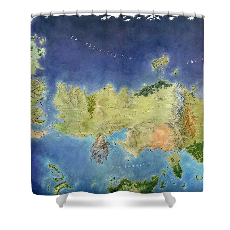 Game of thrones world map shower curtain for sale by gianfranco weiss game shower curtain featuring the painting game of thrones world map by gianfranco weiss gumiabroncs Choice Image