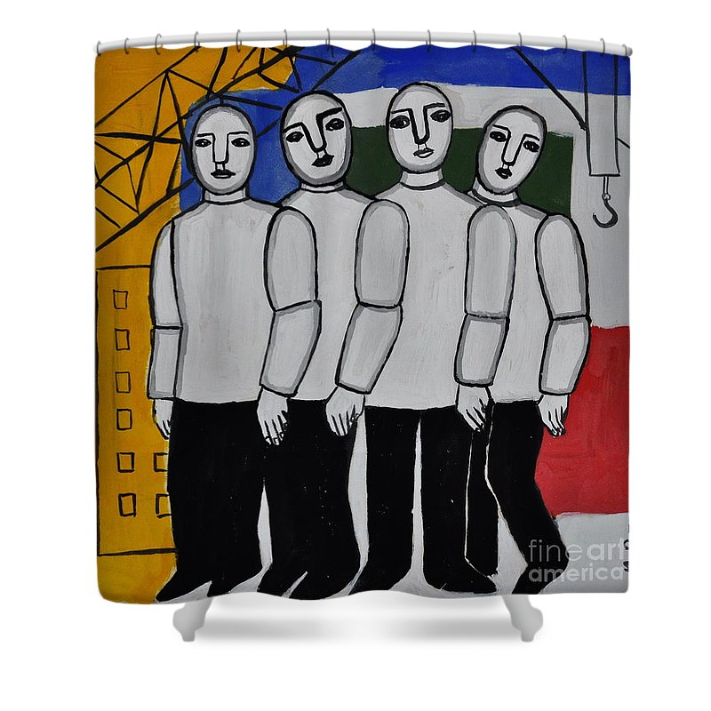 Cubist Shower Curtain featuring the photograph Gang Of Four by Andrea Kollo
