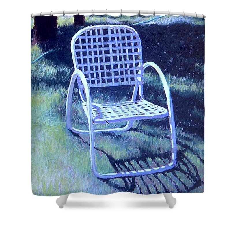 Pastel Shower Curtain featuring the painting Garden Chair by Mary McInnis