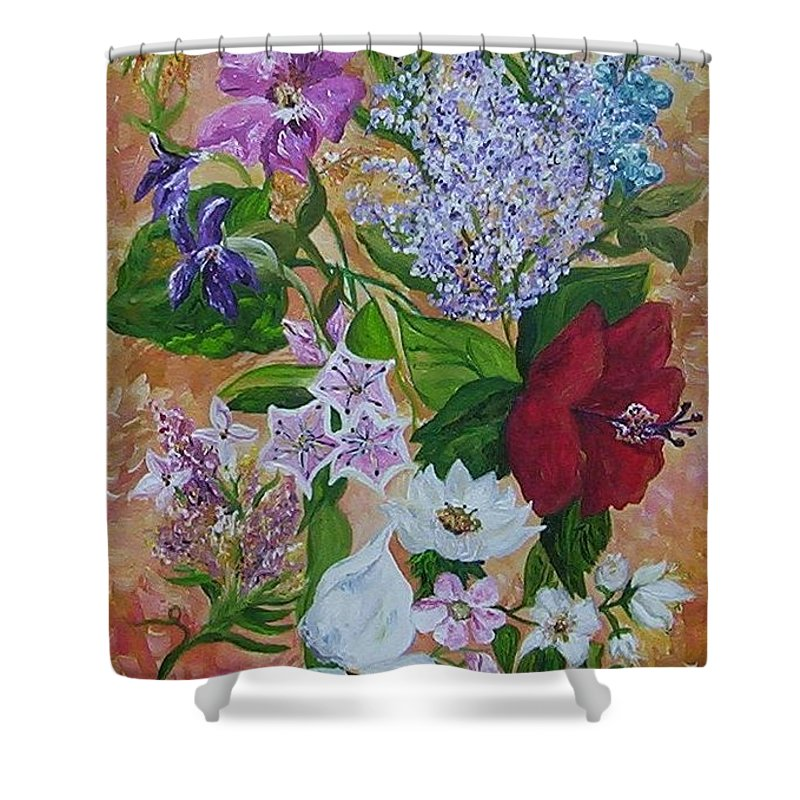 Flowers Shower Curtain featuring the painting Garden Delight by Eloise Schneider