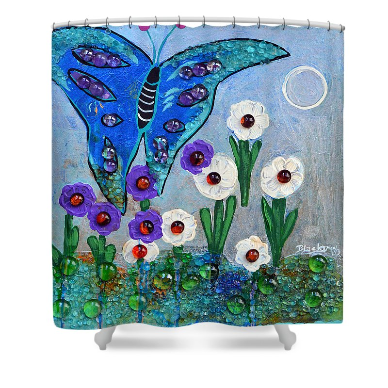 Butterfly Shower Curtain featuring the mixed media Garden Of The Full Moon by Donna Blackhall
