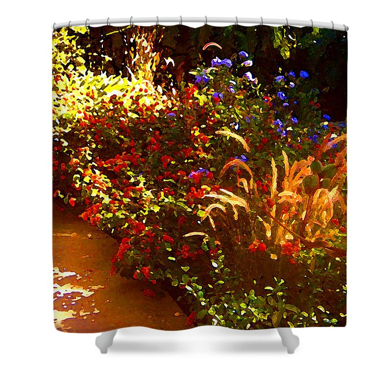 Shower Curtain featuring the painting Garden Pathway by Amy Vangsgard