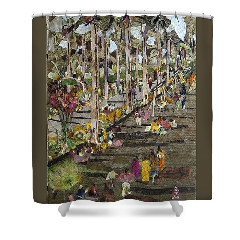 Garden Morning View Shower Curtain featuring the mixed media Garden Picnic by Basant Soni