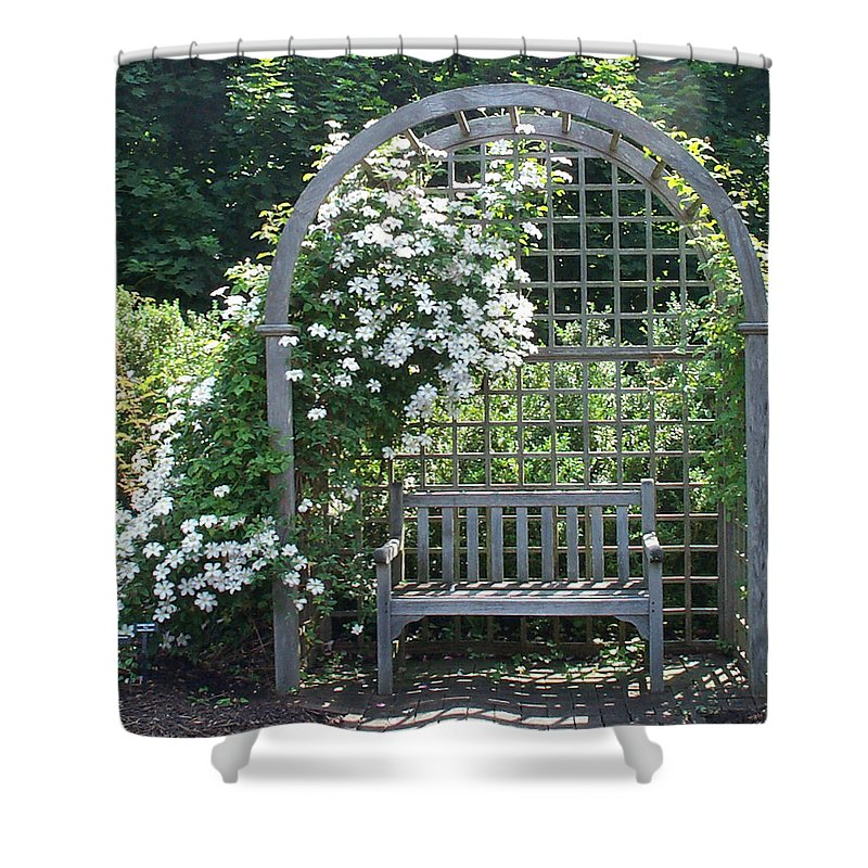 Garden Shower Curtain featuring the photograph Garden Respite by Barbara McDevitt