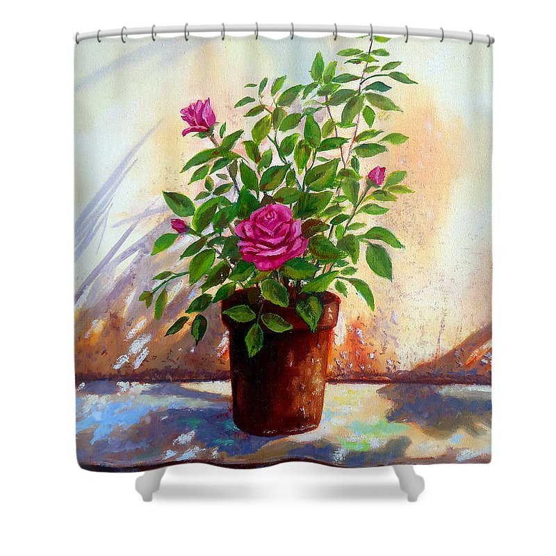 Pink Roses Shower Curtain featuring the painting Garden Roses by Amani Al Hajeri