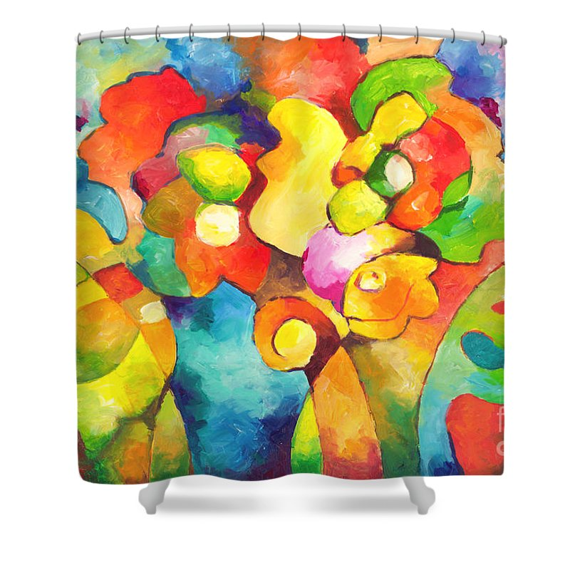 Nature Shower Curtain featuring the painting Garden Variety by Sally Trace