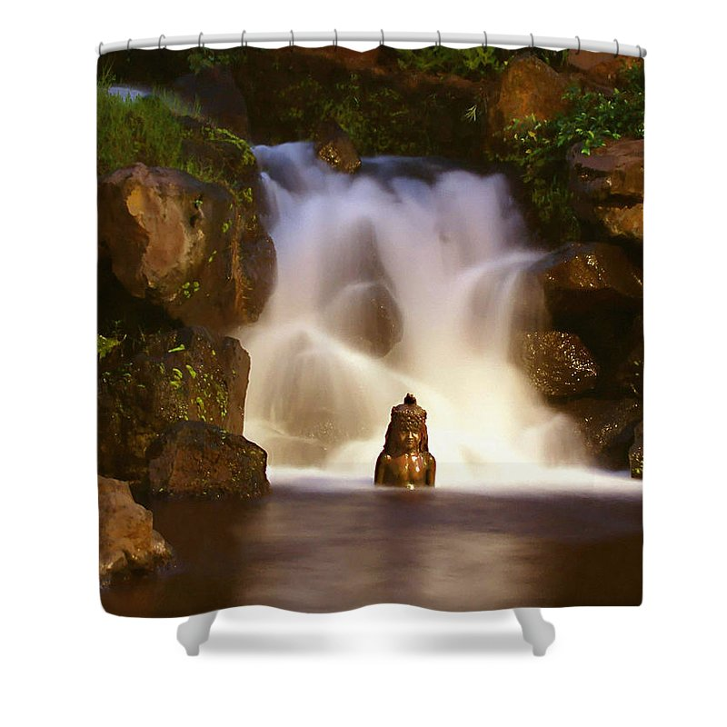 Garden Waterfall Shower Curtain featuring the photograph Garden Waterfall by Ellen Henneke