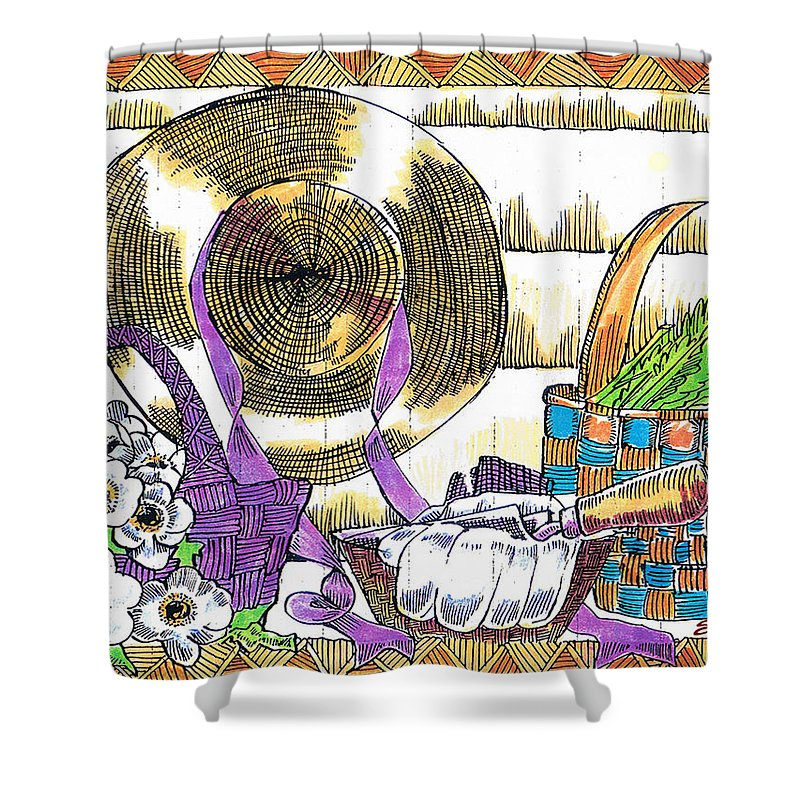 Gardener's Basket Shower Curtain featuring the drawing Gardener's Basket by Seth Weaver