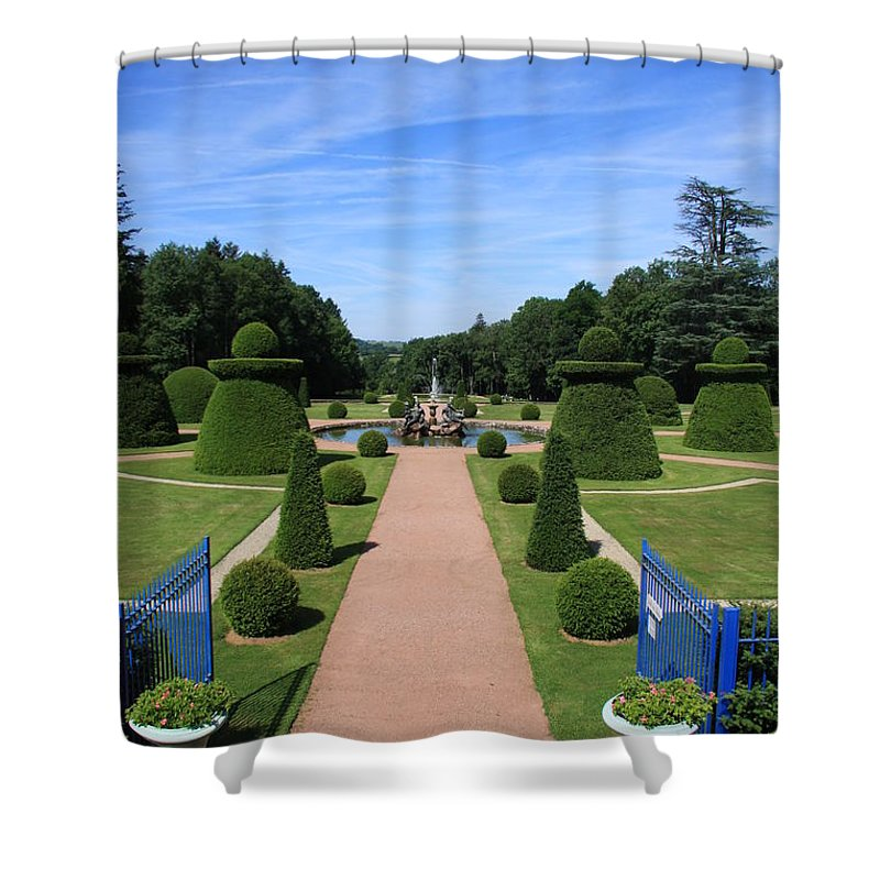 Path Shower Curtain featuring the photograph Gardenpath With Blue Gates - Burgundy by Christiane Schulze Art And Photography