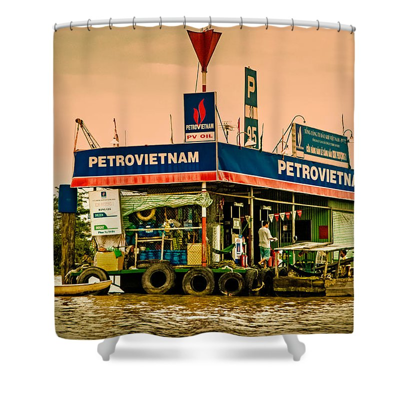 Blue Shower Curtain featuring the photograph Gas Station Vietnam Style by Mark Llewellyn