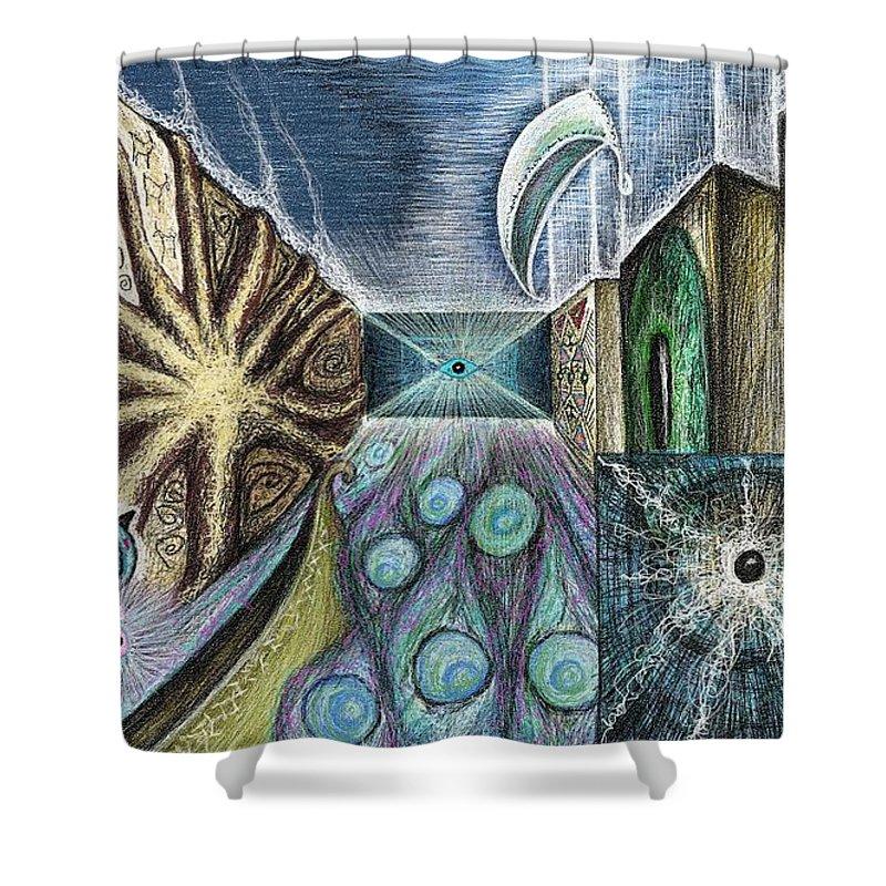 Petroglyph Shower Curtain featuring the digital art Gate by Larysa Domanus-Pazdan