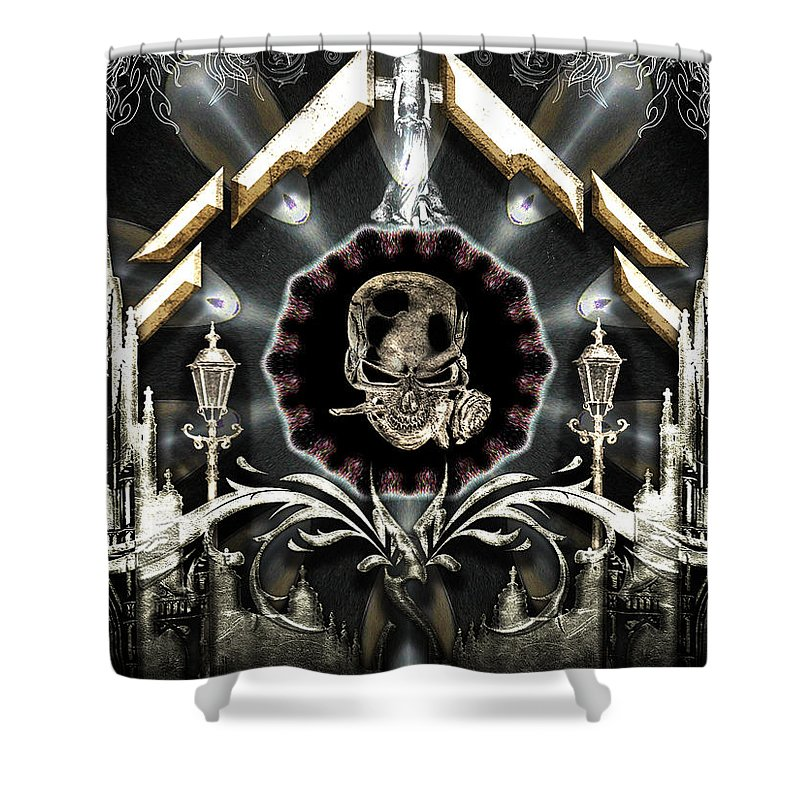 Gateway To Babalon Shower Curtain featuring the digital art Gateway To Babalon by Michael Damiani