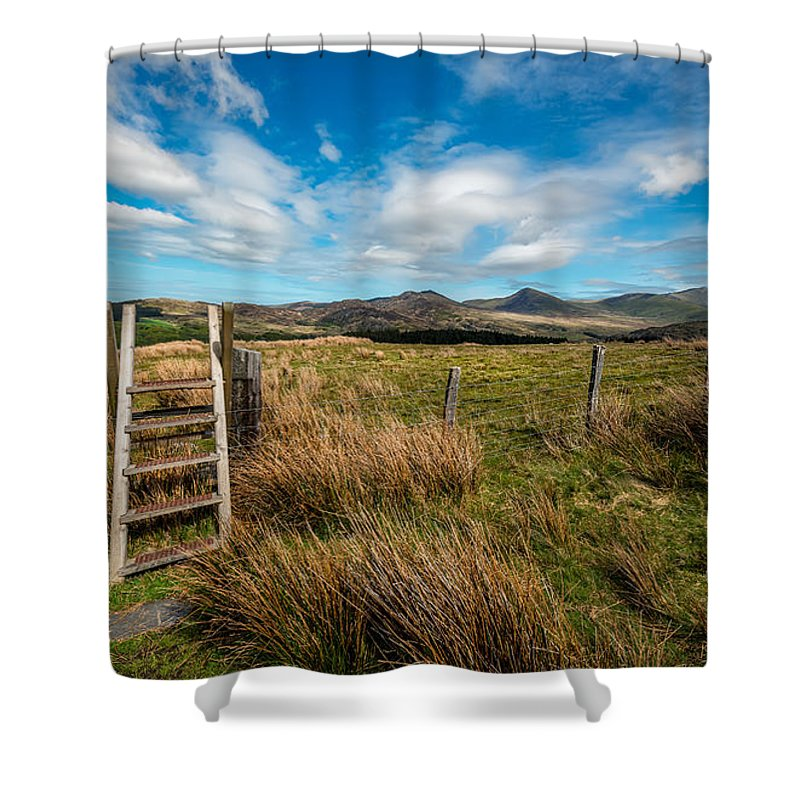 Ladder Stileclouds Shower Curtain featuring the photograph Gateway To The Mountains by Adrian Evans